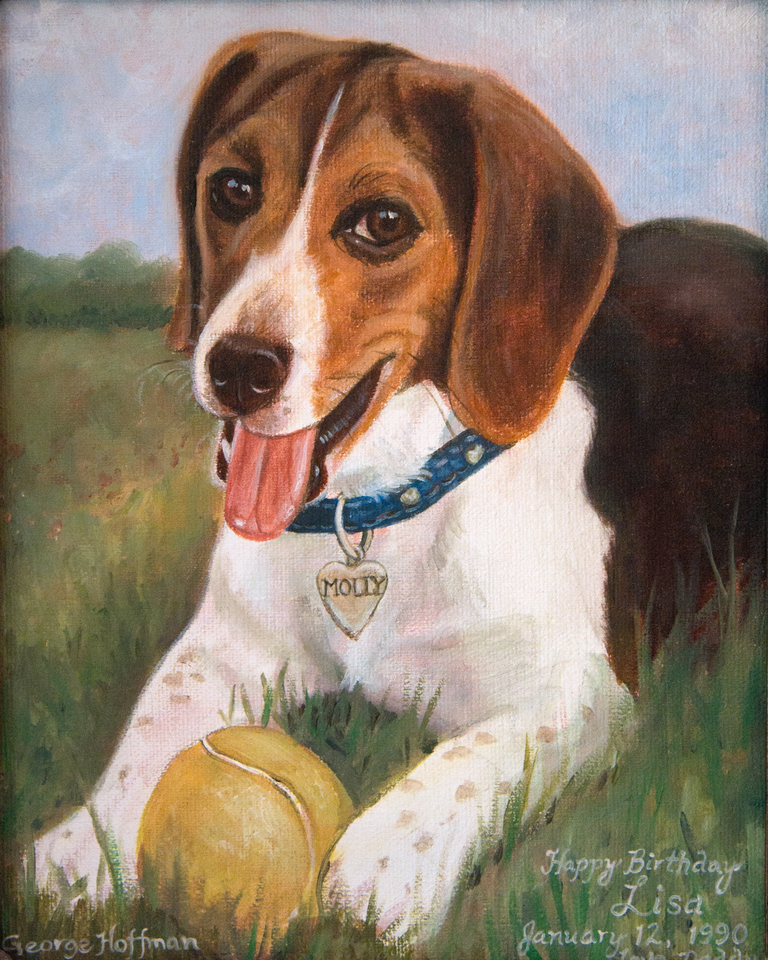 "An oil painting of our beloved Molly I did for Lisa on her birthday in 1990. Painted with Norman Rockwell's techniques as described in his book ""Rockwell on Rockwell."""