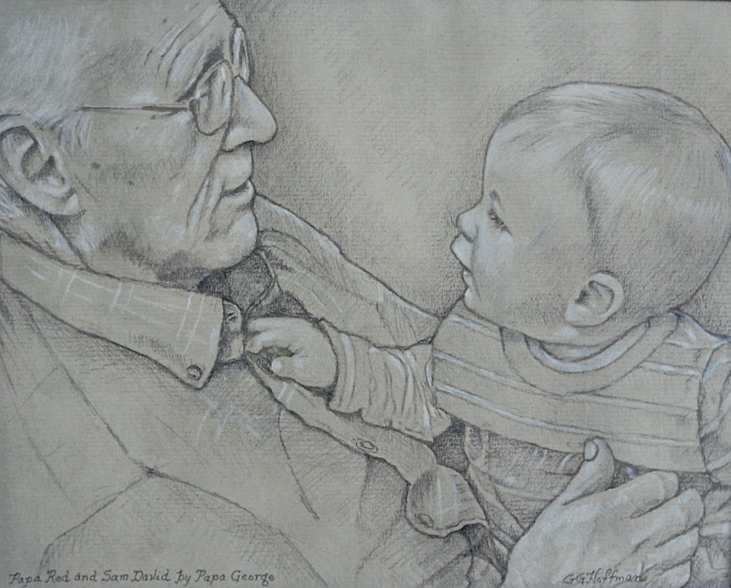 "I'm entering a few original drawings in the upcoming Johns Creek Art Association show. Here's one of ""Papa Red (Carol's dad) and Sam David"" done with graphite and colored pencils on Strathmore charcoal paper."