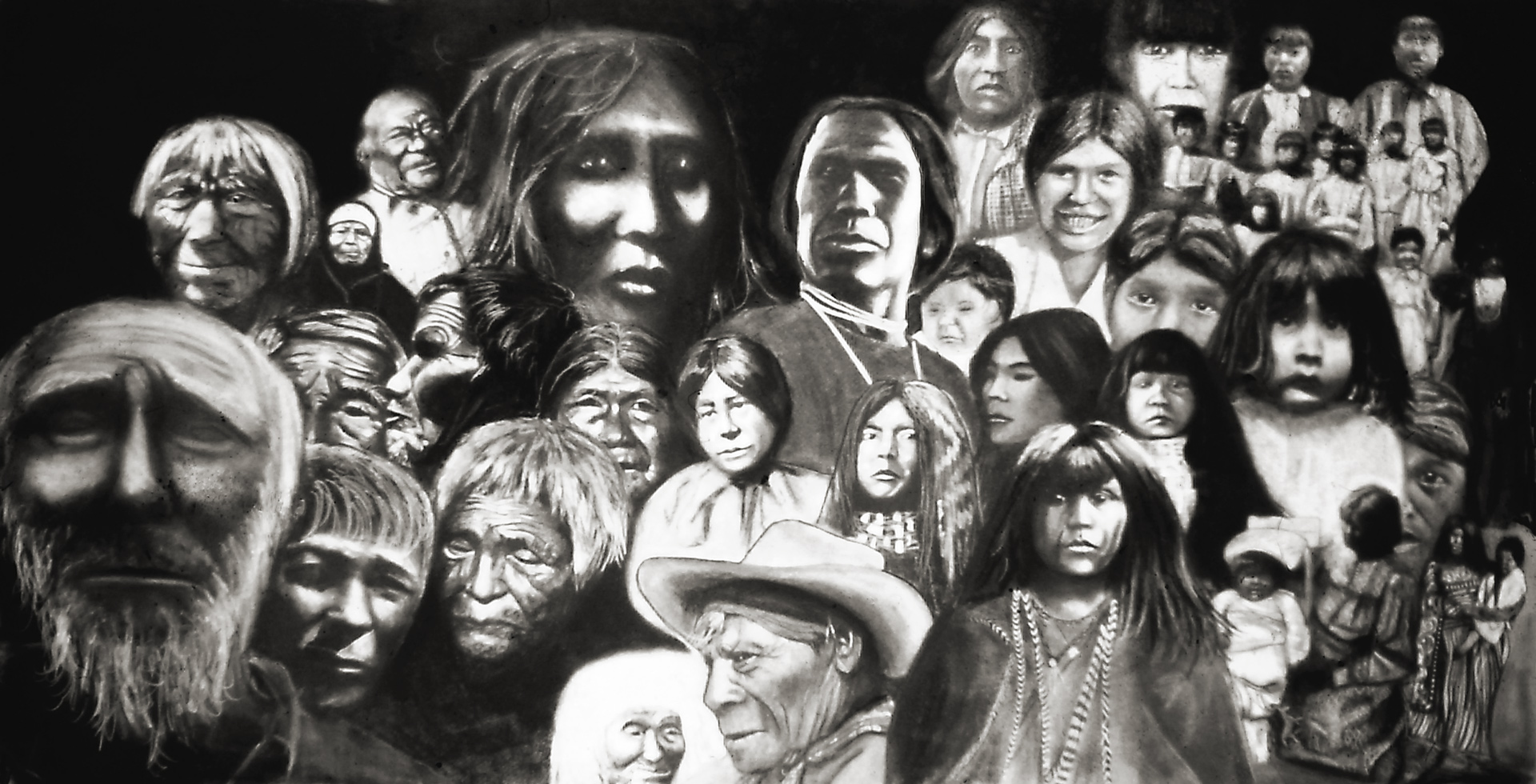 "A charcoal montage of images from the book ""Almost Ancestors"" of native Americans living as early as 1850."