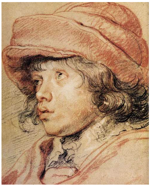 This drawing by Rubens is a good example of his use of ony four colors of conte crayons and charcoal - White, Black, Red and Brown.