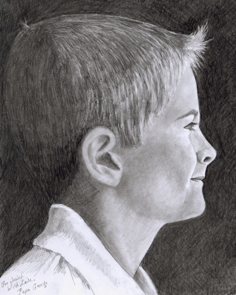 Josiah on HP 24lb Copy Paper with Caran d'Ache Grafwood pencils and Powder Blender
